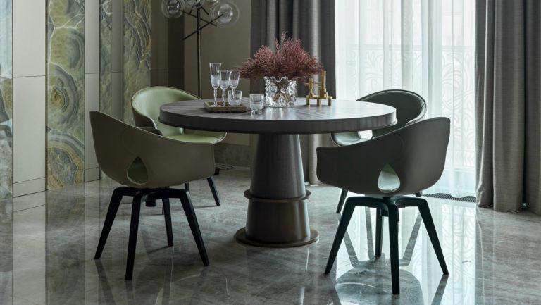 salle à manger design dans un appartement privé de Moscou